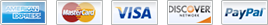 We proudly accept American Express, MasterCard, Visa, Discover, and PayPal